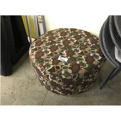 BROWN AND RED PATTERN OTTOMAN