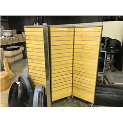 2 MOBILE MAPLE SLAT WALL SECTIONS