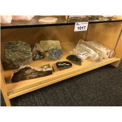 SHELF LOT OF MISC. LAPIDARY ROCKS AND STONES