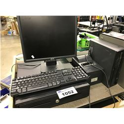 POS STATION INC. LINE PRINTER, MONITOR, COMPUTER (NO HDD), KEYBOARD AND CASH BOX