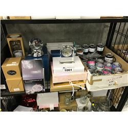 SHELF LOT OF ENGRAVING STORE INVENTORY/SUPPLIES INC. MUGS, DECORATIONS, SAMPLE PRODUCTS AND MORE