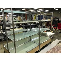 MAPLE AND METAL FRAME 3 TIER 7' GLASS SHELF DISPLAY UNIT