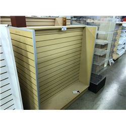 WHITE DOUBLE SIDED MOBILE SLAT WALL DISPLAY UNIT (S2)