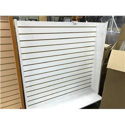 3 WHITE BOUBLE SIDED SLAT WALL DISPLAY UNITS