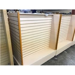 LIGHT MAPLE DOUBLE SIDED MOBILE SLAT WALL DISPLAY UNIT