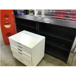 2 DARKWOOD 3' BOOKCASES AND A WHITE MOBILE STORAGE UNIT