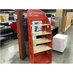 "MAPLE AND ORANGE BOOKCASE WITH 2 WHITE 4"" CARD DISPLAYS"