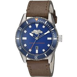 ARMANI EXCHANGE BLUE DIAL BROWN LEATHER BAND WATCH