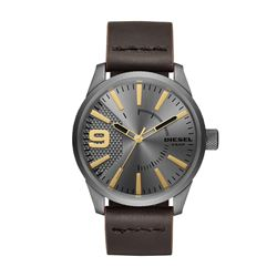 NEW DIESEL GREY DIAL LEATHER DIAL 46MM WATCH.