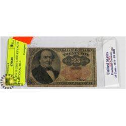 U.S. 1874 25 CENT LONG KEY NOTE - FRACTIONAL BILL