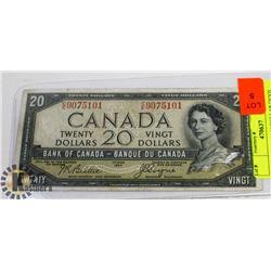 CANADIAN 1954 20 DOLLAR DEVIL FACE BILL