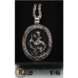 """SAINT CHRISTOPHER PENDANT WITH 23"""" CHAIN"""