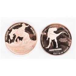 Lot (2) .9999 Fine Pure Copper Medals of Calgary