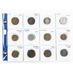 Lot (12) World Coins: France, Germany, Denmark etc