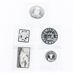 Lot (5) 925 Silver, Rounds, Stamps, Etc.