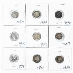 Group of (9) Mixed Silver Coins, Early 1900s