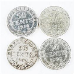 Group of (4) NFLD 925 Silver 50 cent Coins: 1904,