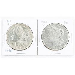 Lot (2) 1921 USA Silver Morgan Dollars - 2 Mint Ma