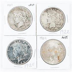 Group (4) USA Silver Peace Dollars - 1922, 1923, 1