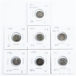 Group of (7) Canada 925 Silver 5 Cents: 1900-1906