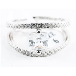 925 Silver Ring Size 6 Double Band with Princess C