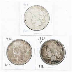 Lot (3) USA 1922 Silver Dollars, 3 Mints Reg (D) a