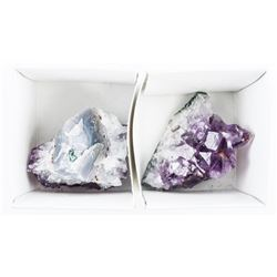 Lot (2) Genuine Amethyst Cluster Rock and Minerals