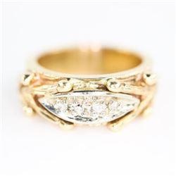 Estate 10kt Gold Fancy Band Ring, Size 5.5 4 Diamo