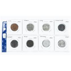 Group of (8) World Coins: Netherlands, Israel, Ger