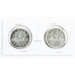 Pair Canada 1952 Silver Dollars WL and NWL