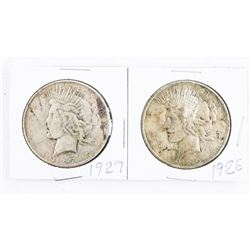Lot (2) USA Silver Peace Dollars: 1026 and 1927