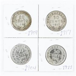 Group of (4) 925 Silver NFLD 50 Cents: 1904, 1909,