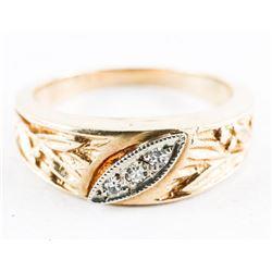 Estate 10kt Gold Diamond Bang Ring. Size 5 3/4