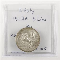 Italy 1917R 1 Lira BU KM#57