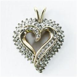 Estate 10kt Gold Diamond Heart Pendant
