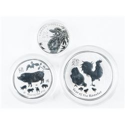Lot (3) .9999 Fine Silver Coins: Rooster, Pig and