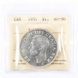 Canada Silver Dollar 1951 (AU50) ICCS. (SIE) (17)
