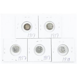 Lot (5) Canada 5 Cents Silver '1917' Coins