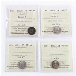 Group of (4) Canada Silver 5 Cents ICCS
