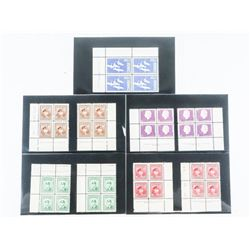 Group of (9) Blocks x 4 Stamps of Canada