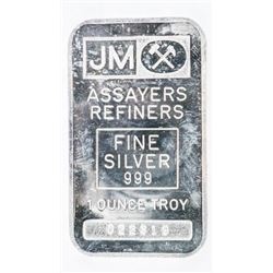 JM 999 Fine Pure Silver 1oz Bar, Vintage, No Longe