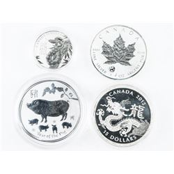 Lot (4) Collector Silver Bullion 4 Coins: Maple Le