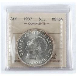 1937 Canada Silver Dollar MS-64. ICCS. (MIE)
