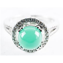 925 Silver Custom Ring, Round Cabochon Jadeite and
