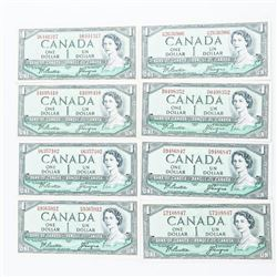 Complete 8 Note Prefix Set Bank of Canada 1954 1.0