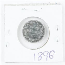 1896 NFLD 925 Silver 5 Cents Coin