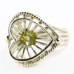 Ladies 10kt Gold Handmade Heart Ring Size 6 3/4. 4