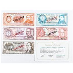 Bank of Paraguay Specimen 4 Note Set. Match Serial