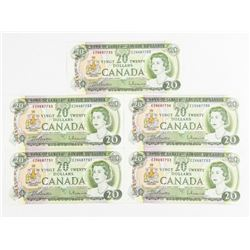 Lot (5) Bank of Canada 1969 20.00 UNC 5 in Sequenc
