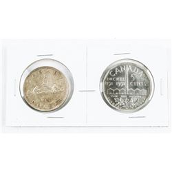 Lot (2) 1951 Canada Silver Dollar and Large Nickel